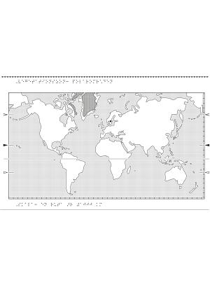 Världskarta i relief med polarområden markerade.