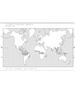 Världskarta i relief med regnskog markerat.