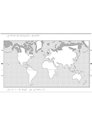 Världskarta i relief med tundra markerat.