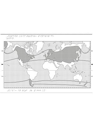Världskarta i relief med klimatzoner markerade.