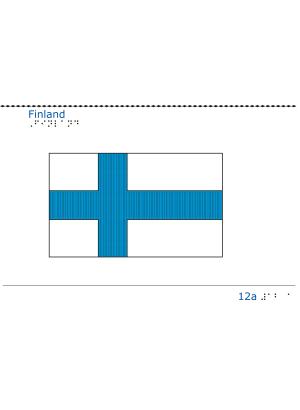 Taktil bild Finlands flagga.