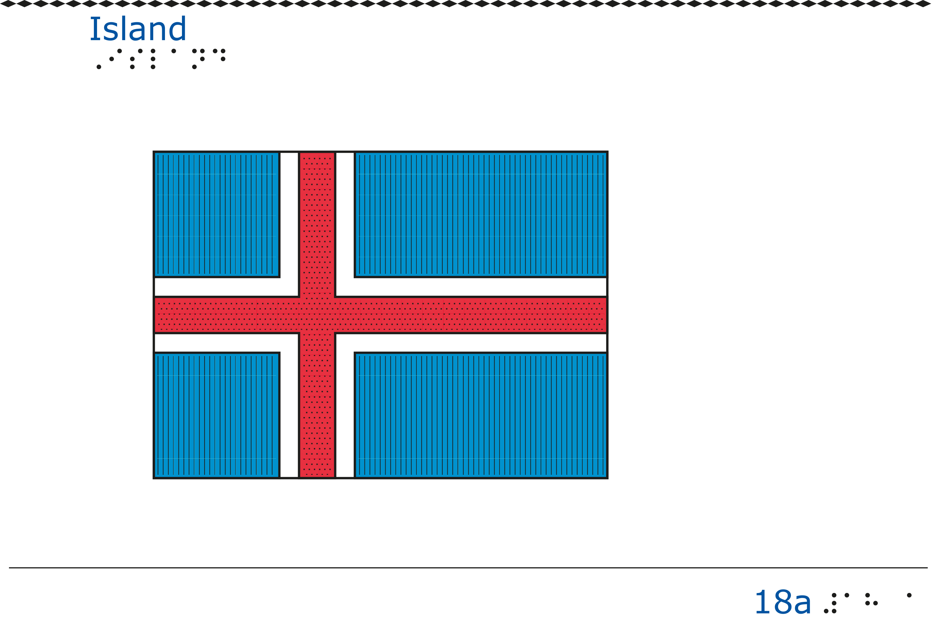 Taktil bild Islands flagga.