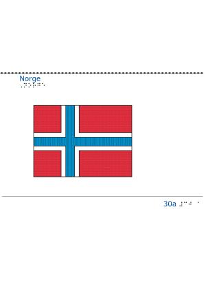 Taktil bild Norges flagga.