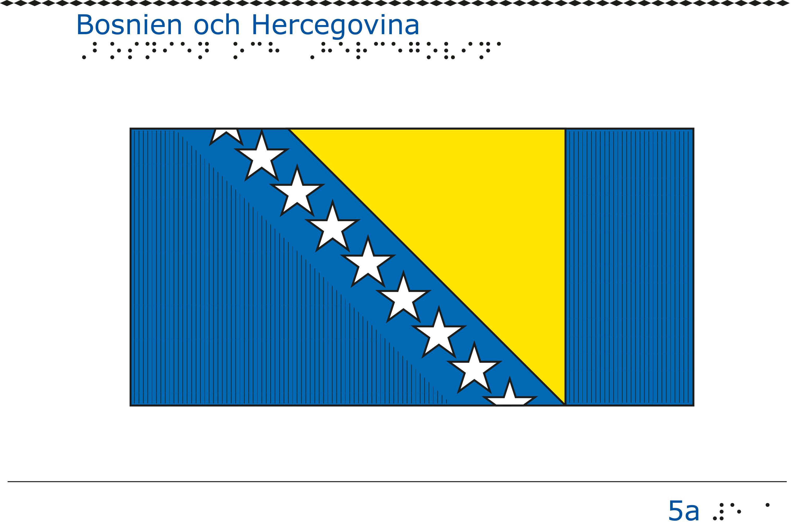 Taktil bild - Bosnien Hercegovinas flagga.