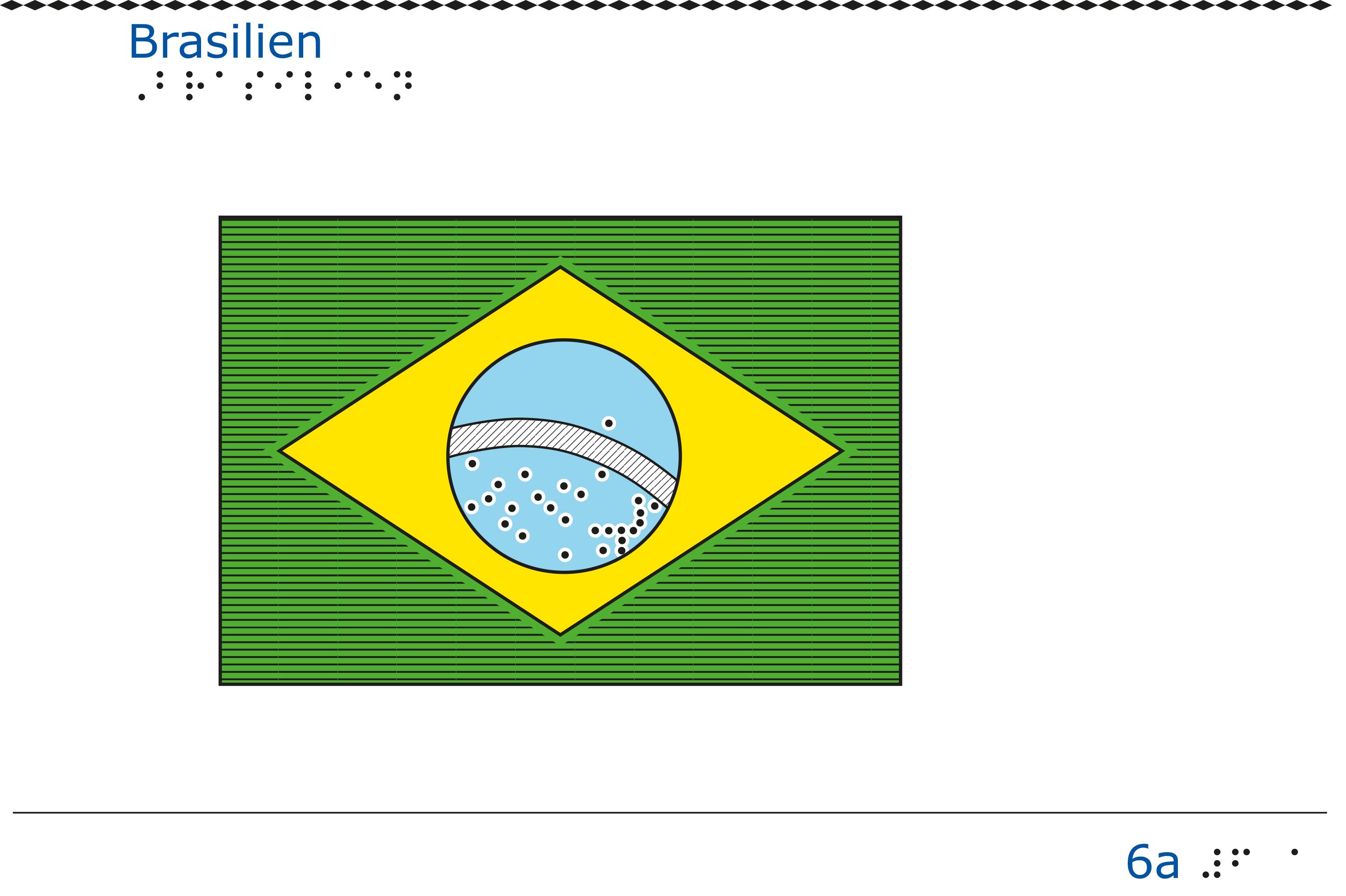 Taktil bild - Brasilien flagga.