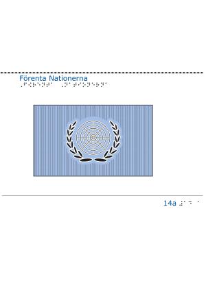 Taktil bild - FNs flagga.