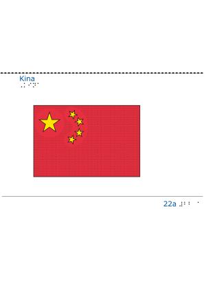 Taktil bild - Kinas flagga.