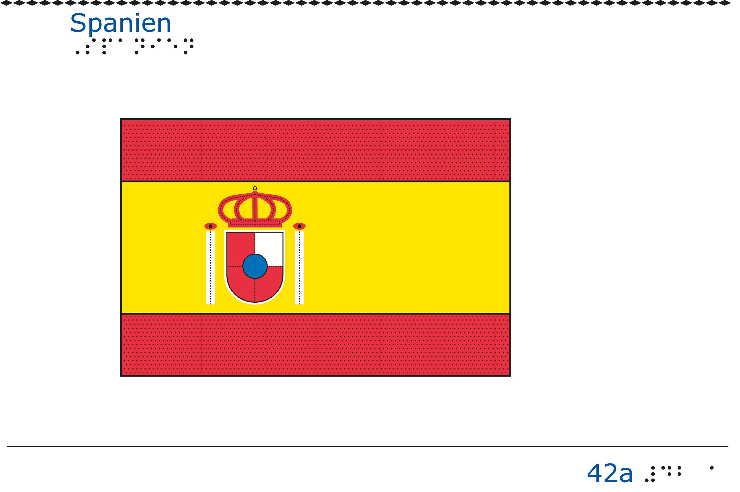 Taktil bild Spaniens flagga.
