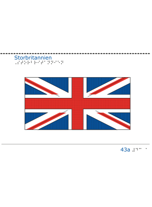 Taktil bild Storbritanniens flagga.