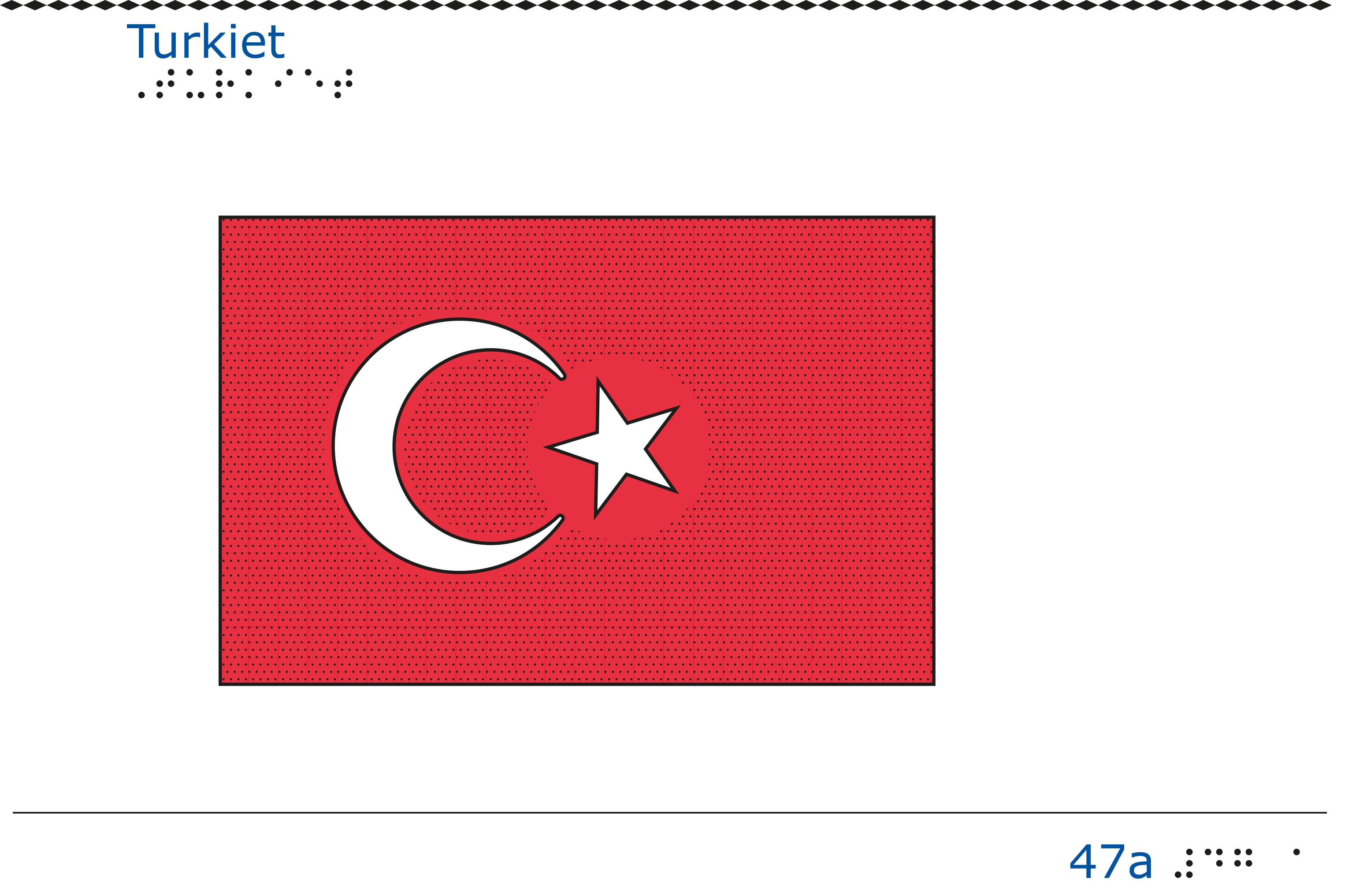 Taktil bild Turkiets flagga.