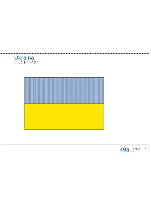 Taktil bild Ukrainas flagga.