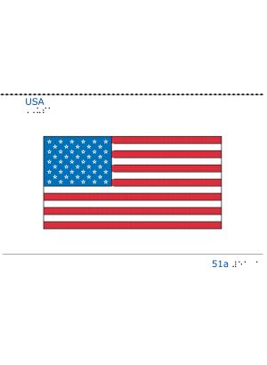 Taktil bild USA:s flagga.
