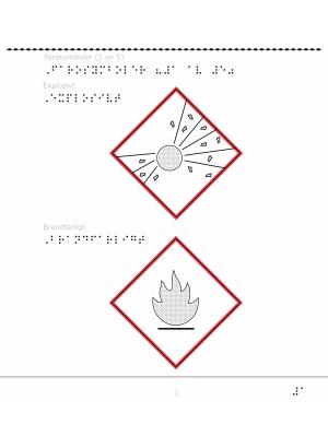 Farosymbol för explosivt och brandfarligt.
