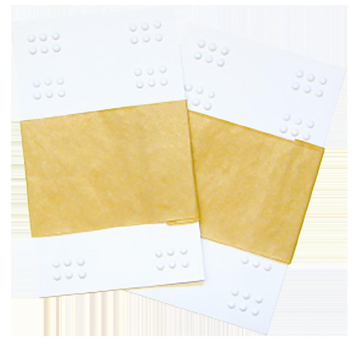 2 plastark med brailleceller.