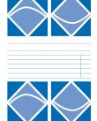 Omslag bestående av geometriska figurer separerade av fem tomma textrader och två streckade linjer.