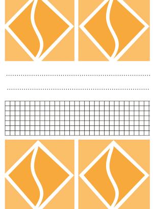 Omslag bestående av geometriska figurer separerade av ett rutat fält och två prickade linjer.