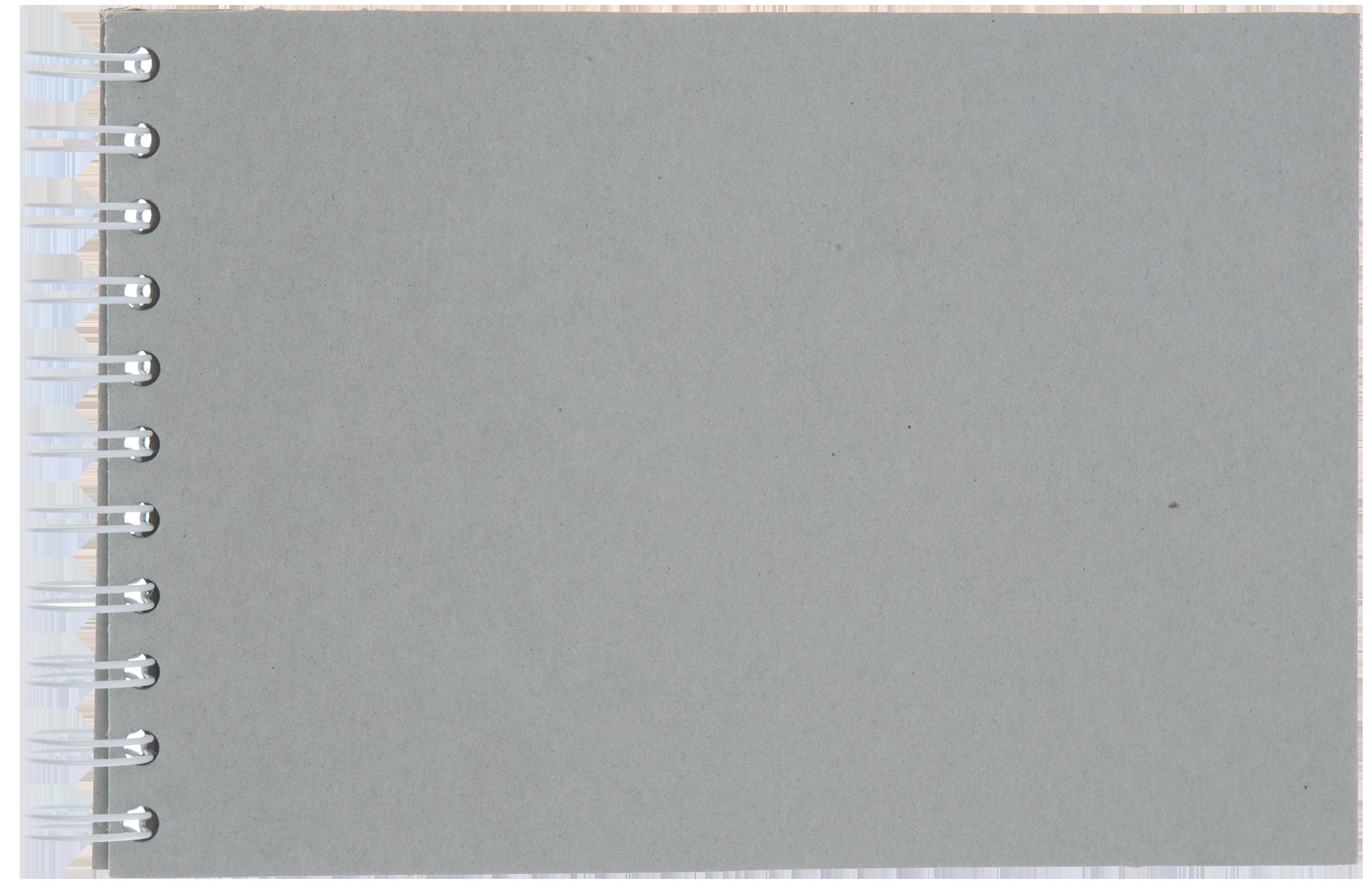 Spiralbunden kartong med tre sidor.