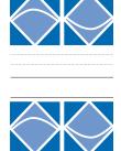 Omslag bestående av geometriska figurer i vitt mot blått separerade av ett fält med linjer mot en vit bakgrund.