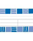 Omslag bestående av vita och blå mönster liknande krusningar på en vattenyta separerade av ett fält med svarta linjer mot en vit bakgrund.