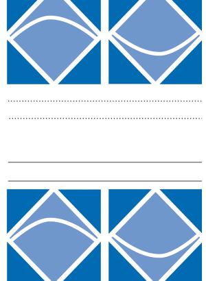 Omslag bestående av vita och blå geometriska figurer separerade av ett fält med svarta linjer mot vit bakgrund.