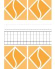 Omslag bestående av vita och orange geometriska figurer separerade av ett fält med svarta rutor och linjer mot vit bakgrund.