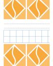 Omslag bestående av vita och orange geometriska figurer separerade av ett fält med blå rutor och svarta linjer mot vit bakgrund.