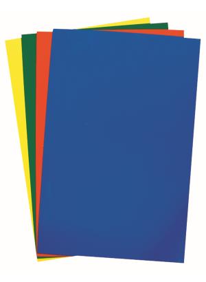 Fyra plastark i olika färger - blå, röd, grön och gul.