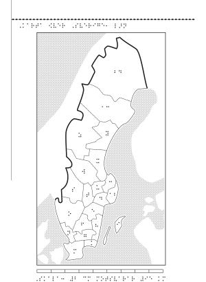 Sverigekarta i relief med punktskrift.