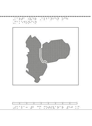 Albanien och Makedonien i relief med punktskrift.