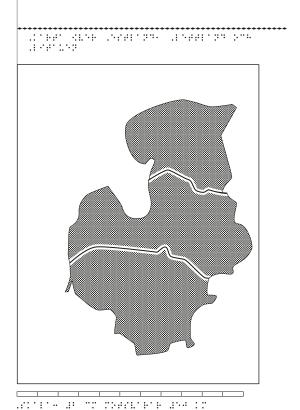 Karta av Estland, Lettland och Litauen i relief med tillhörande punktskrift.