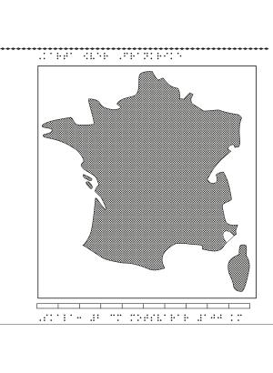 Karta av Frankrike i relief med tillhörande punktskrift.