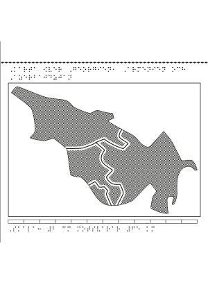 Karta av Georgien, Armenien och Azerbajdzjan i relief med tillhörande punktskrift.