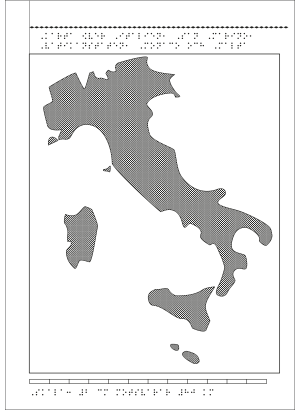 Karta av Italien i relief med tillhörande punktskrift.
