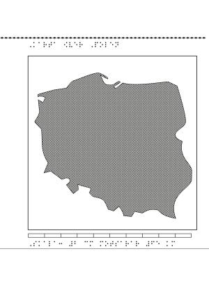 Karta av Polen i relief med tillhörande punktskrift.
