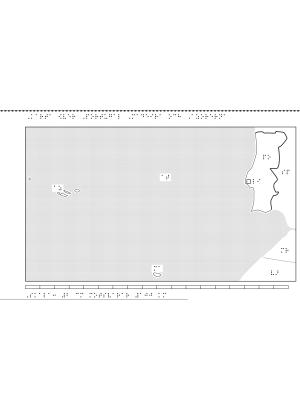 Karta av Portugal i relief med tillhörande punktskrift.
