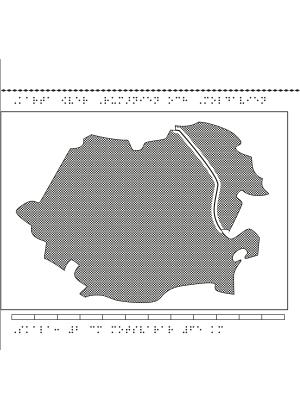 Karta av Rumänien och Moldavien i relief med tillhörande punktskrift.