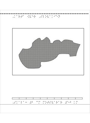 Karta av Slovakien i relief med tillhörande punktskrift.