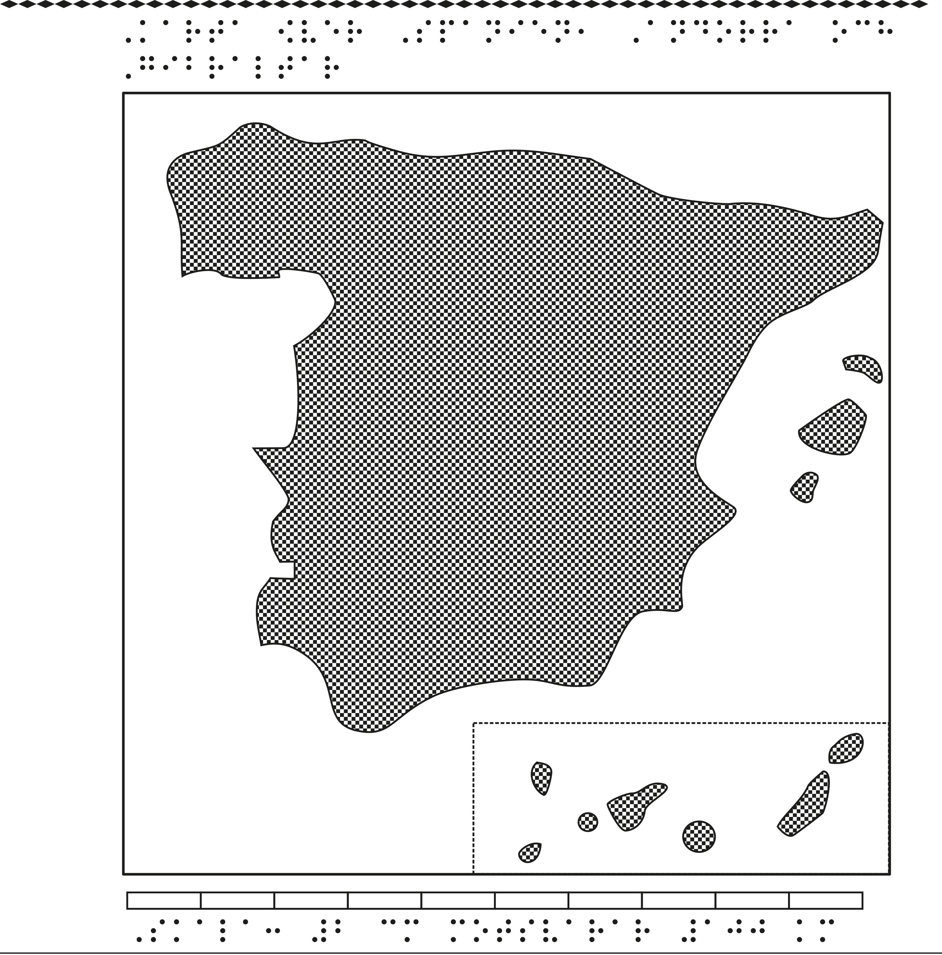 Karta av Spanien i relief med tillhörande punktskrift.