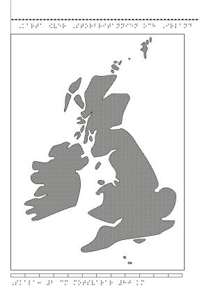 Karta av Irland och Storbritannien i relief med tillhörande punktskrift.