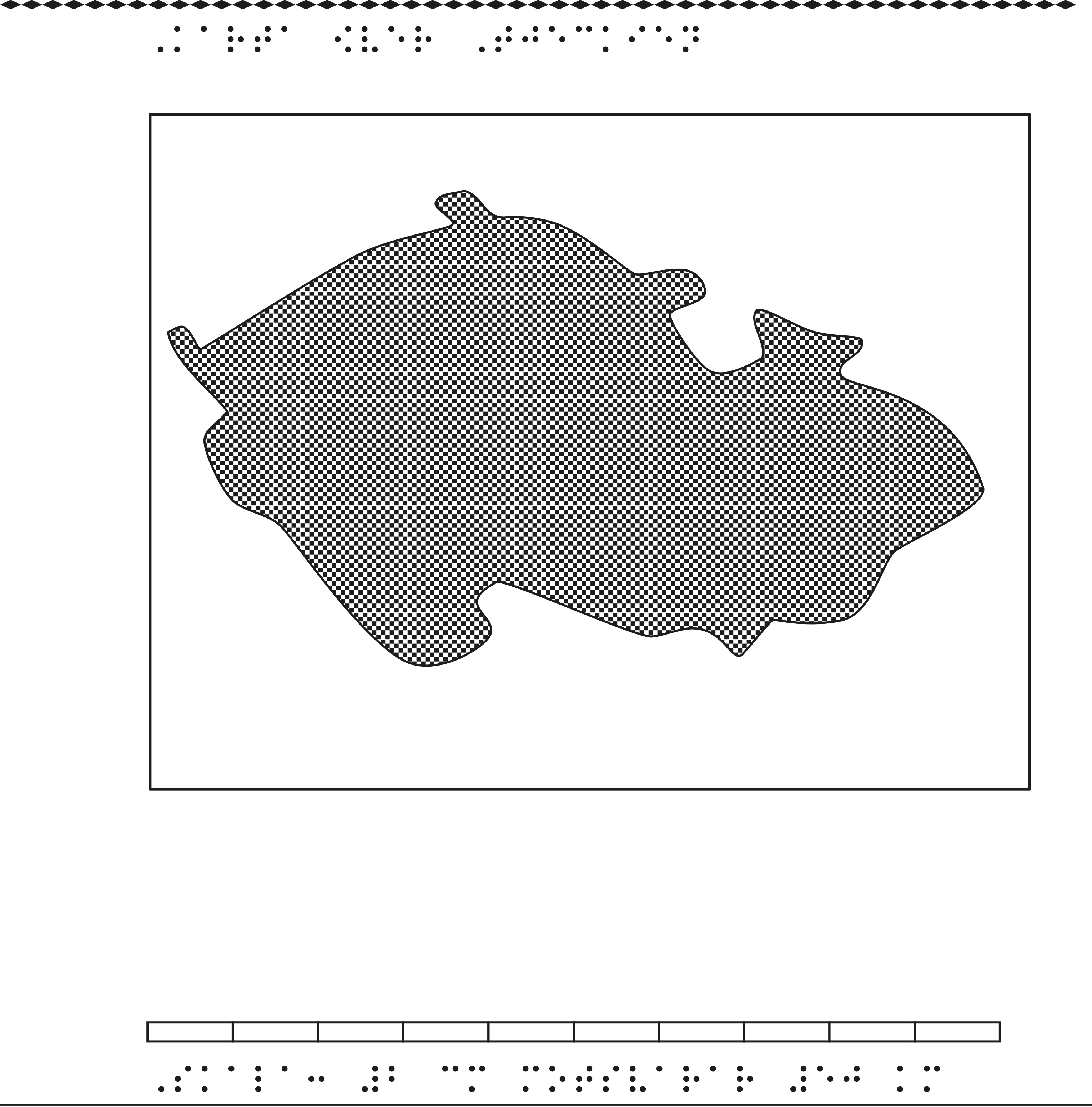 Karta av Tjeckien i relief med tillhörande punktskrift.