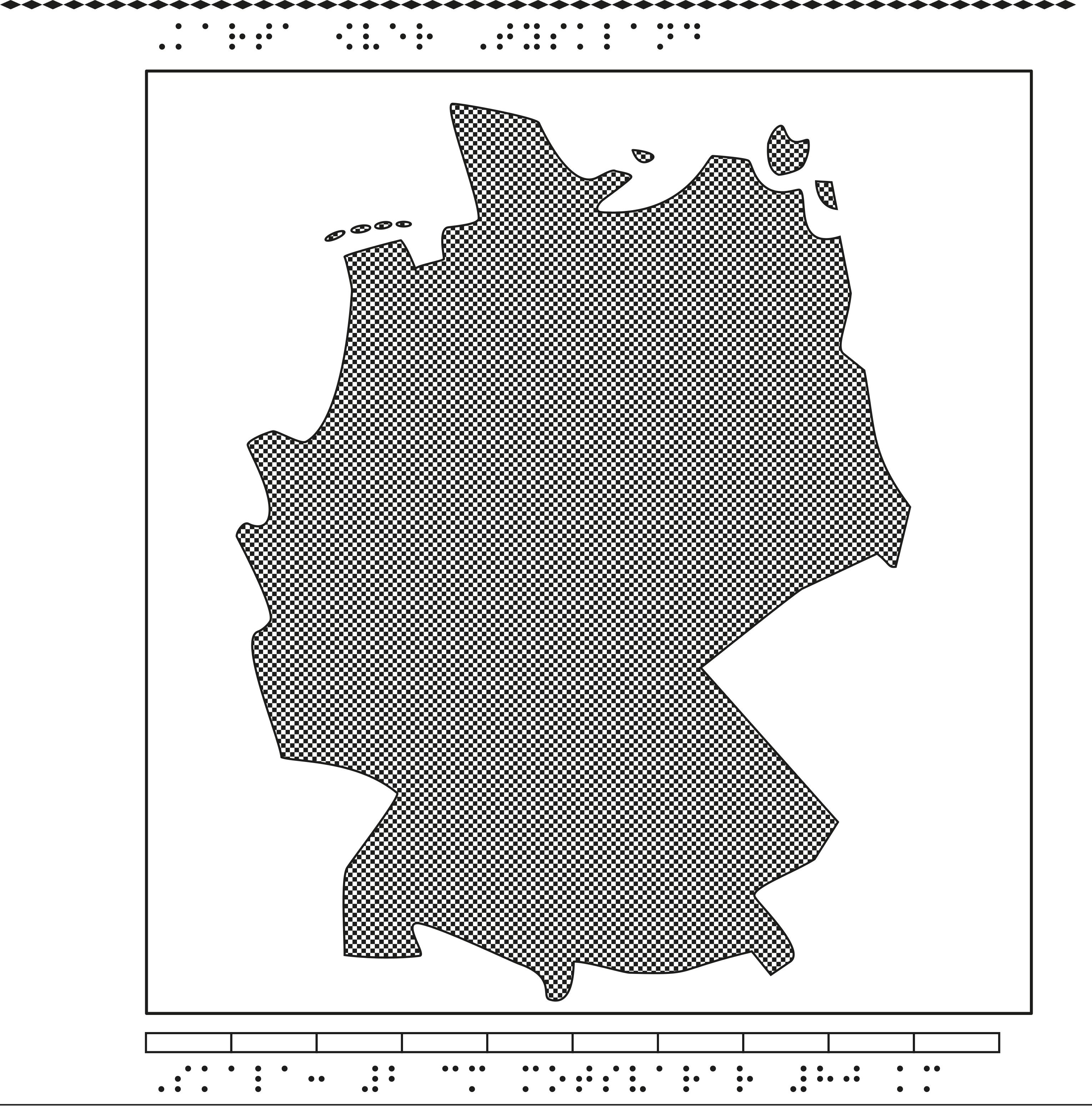 Karta av Tyskland i relief med tillhörande punktskrift.