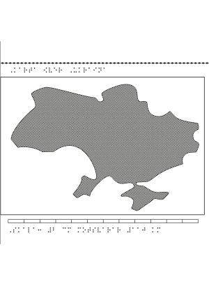 Karta av Ukraina i relief med tillhörande punktskrift.