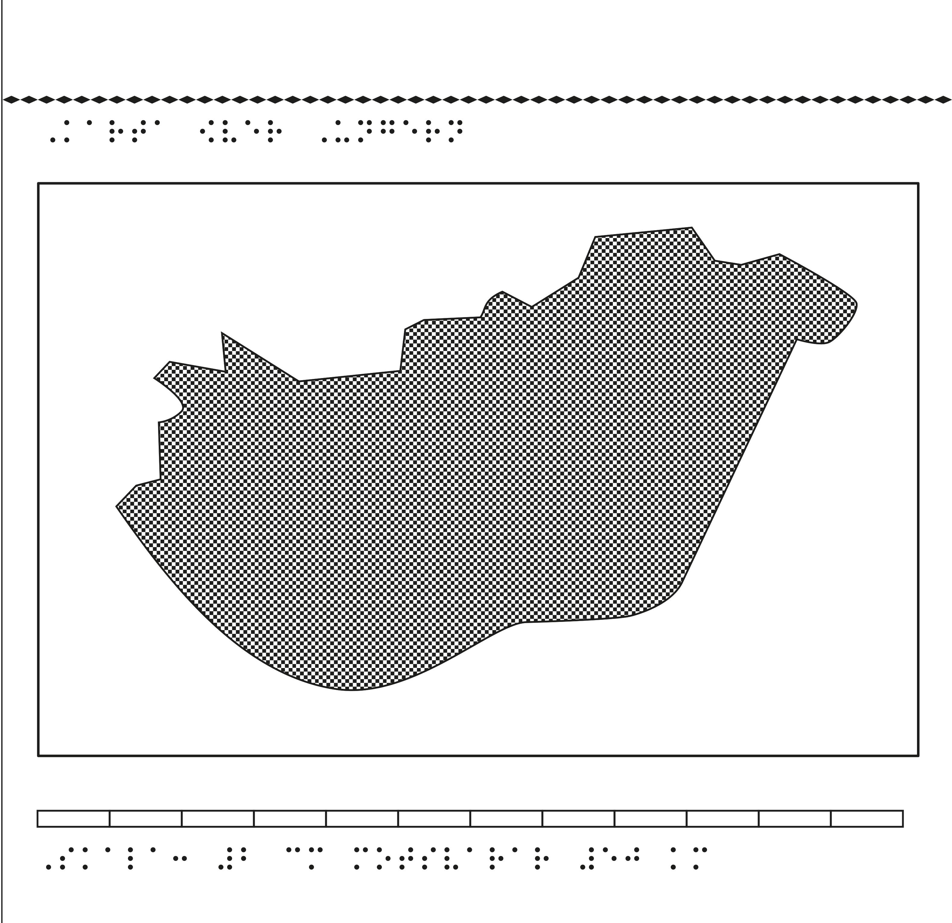 Karta av Ungern i relief med tillhörande punktskrift.
