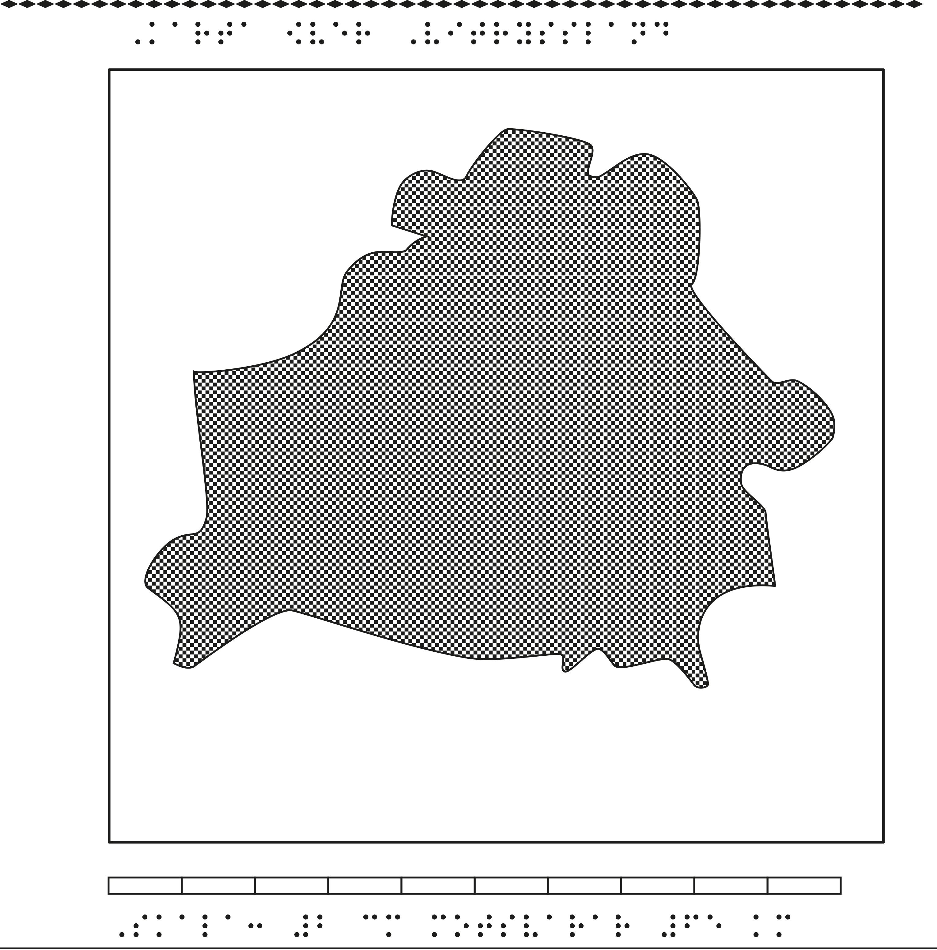 Karta av Vitryssland i relief med tillhörande punktskrift.