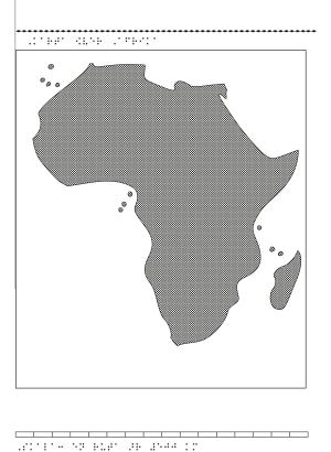 Karta av Afrika i relief med tillhörande punktskrift.