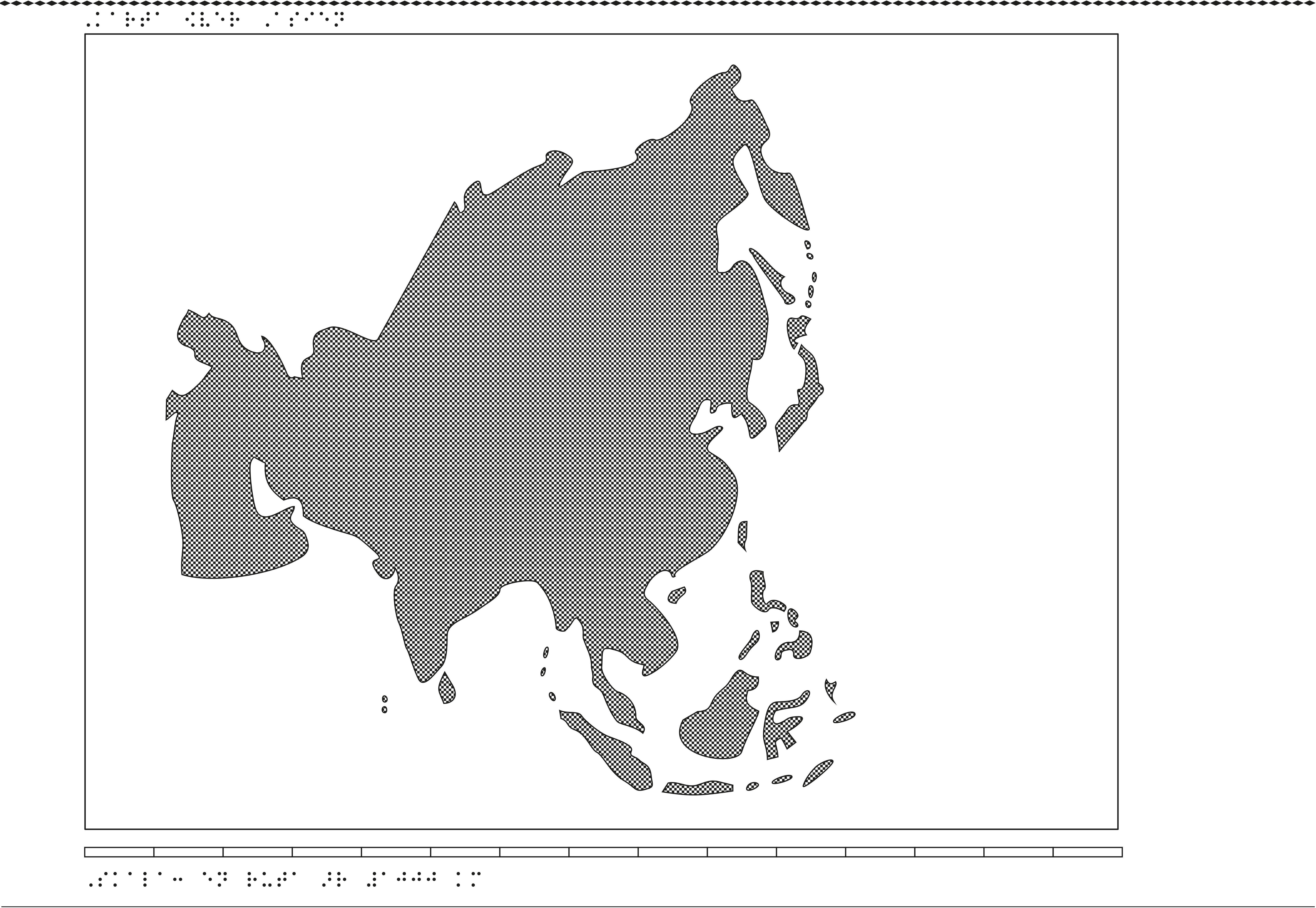 Karta av Asien i relief med tillhörande punktskrift.