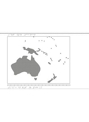 Karta av Oceanien i relief med tillhörande punktskrift.
