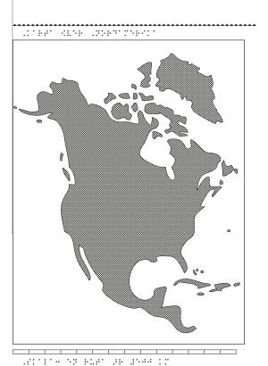 Karta av Nordamerika i relief med tillhörande punktskrift.