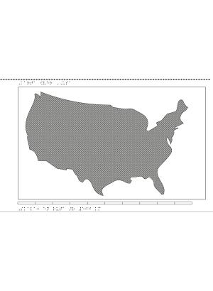 Karta av USA i relief med tillhörande punktskrift.