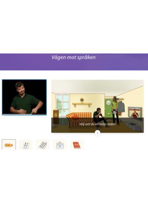 Två bilder. På den ena en man som talar teckenspråk. På den andra en man som sitter på en soffkant och en kvinna som står bredvid i ett tecknat rum med soffa och tv.